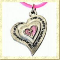 Pewter Heart Christian Purity Necklace on Pink Rubber Cord