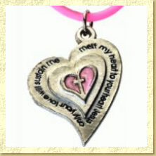 Pewter Heart Christian Purity Necklace on Pink Rubber Cord - Click Image to Close
